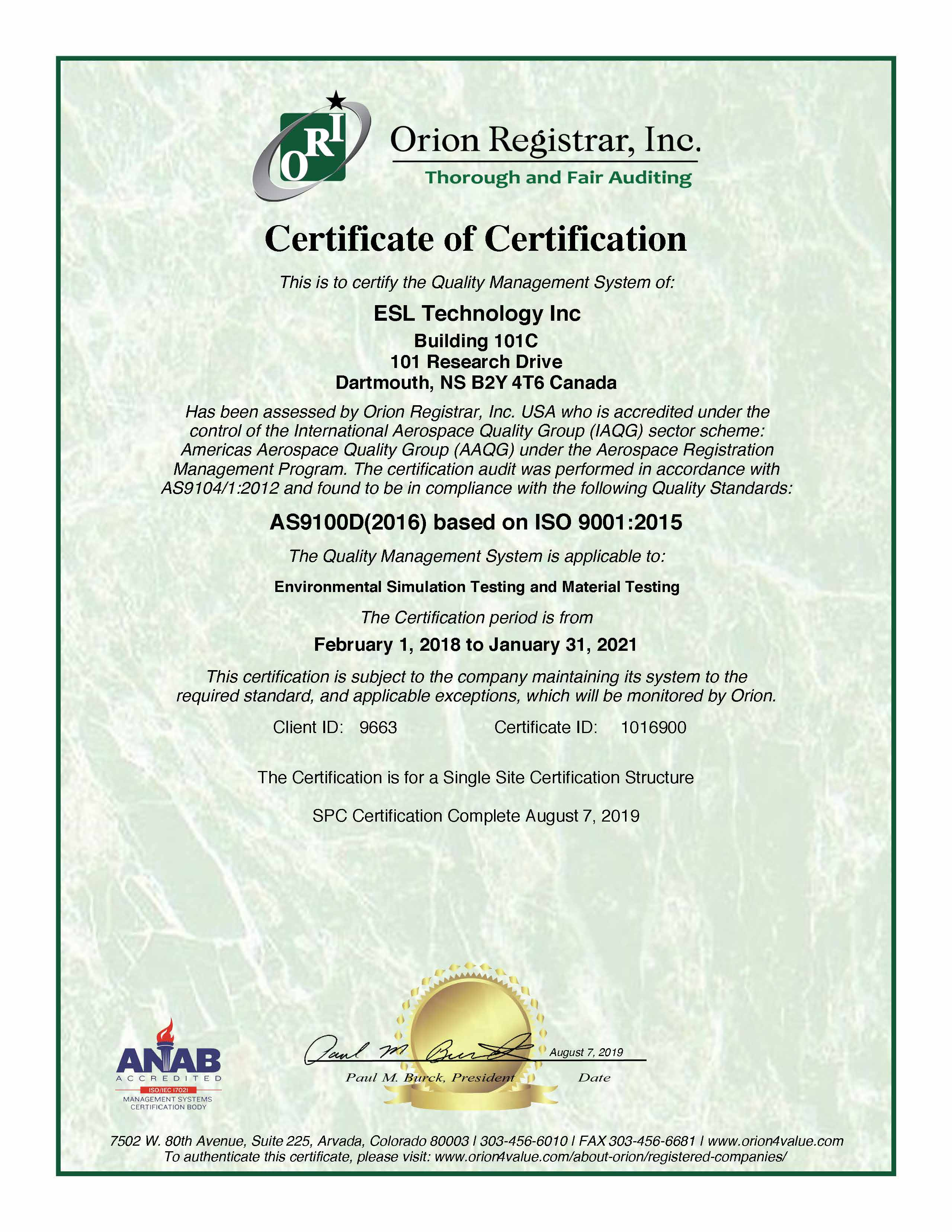 Certificate of Certification ESL Technology Inc